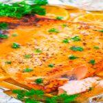 Salmon al horno con salsa de mostaza y miel